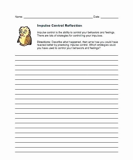 Impulse Control Worksheets Printable Luxury Impulse Control Worksheets Printable Impulse Control