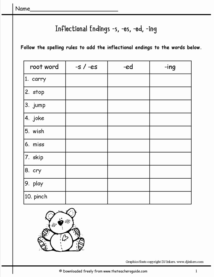 Inflectional Endings Worksheets 2nd Grade Beautiful Inflectional Endings Worksheets 2nd Grade In 2020