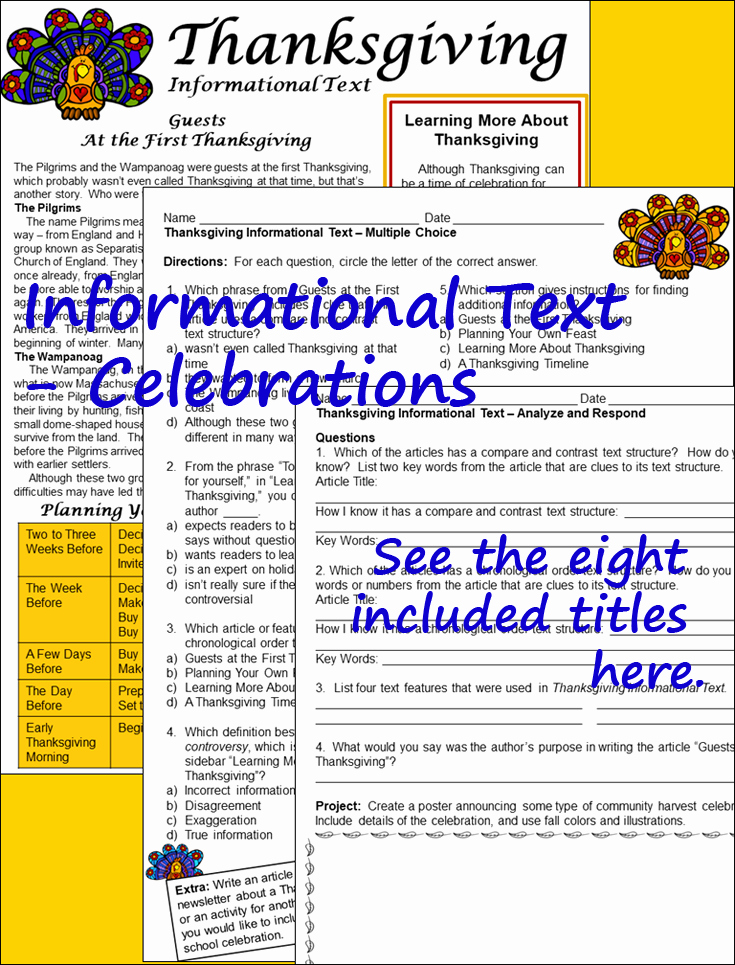 Informational Text Worksheets Middle School Awesome Seasonal and Holiday Celebrations 8 Informational Text