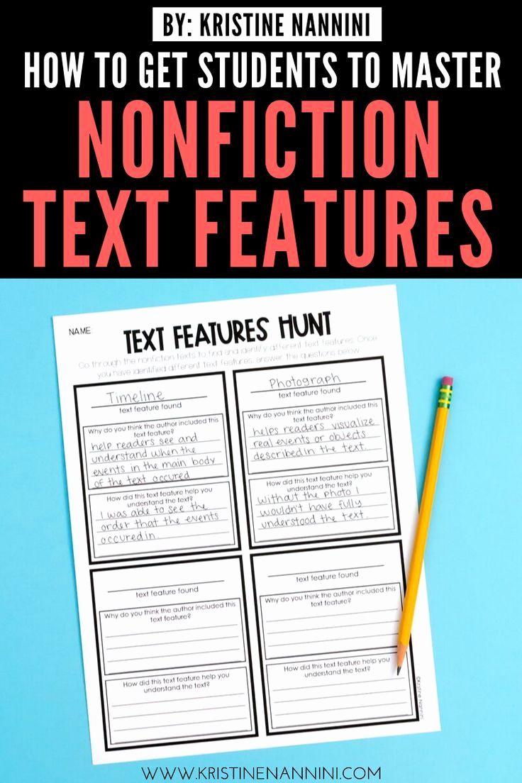 Informational Text Worksheets Middle School Beautiful Text Features Middle School Features Middle School