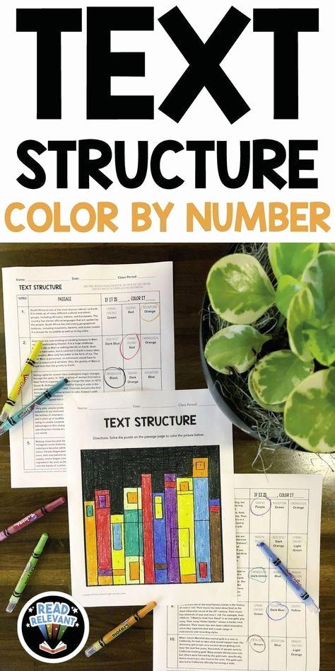 Informational Text Worksheets Middle School Elegant Text Structure Color by Number