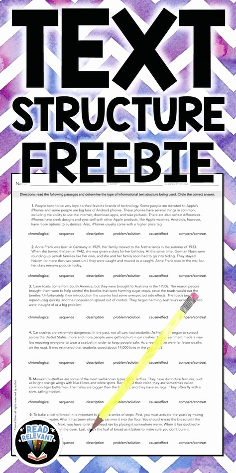 Informational Text Worksheets Middle School Fresh Free Informational Text Structure Worksheet Activity