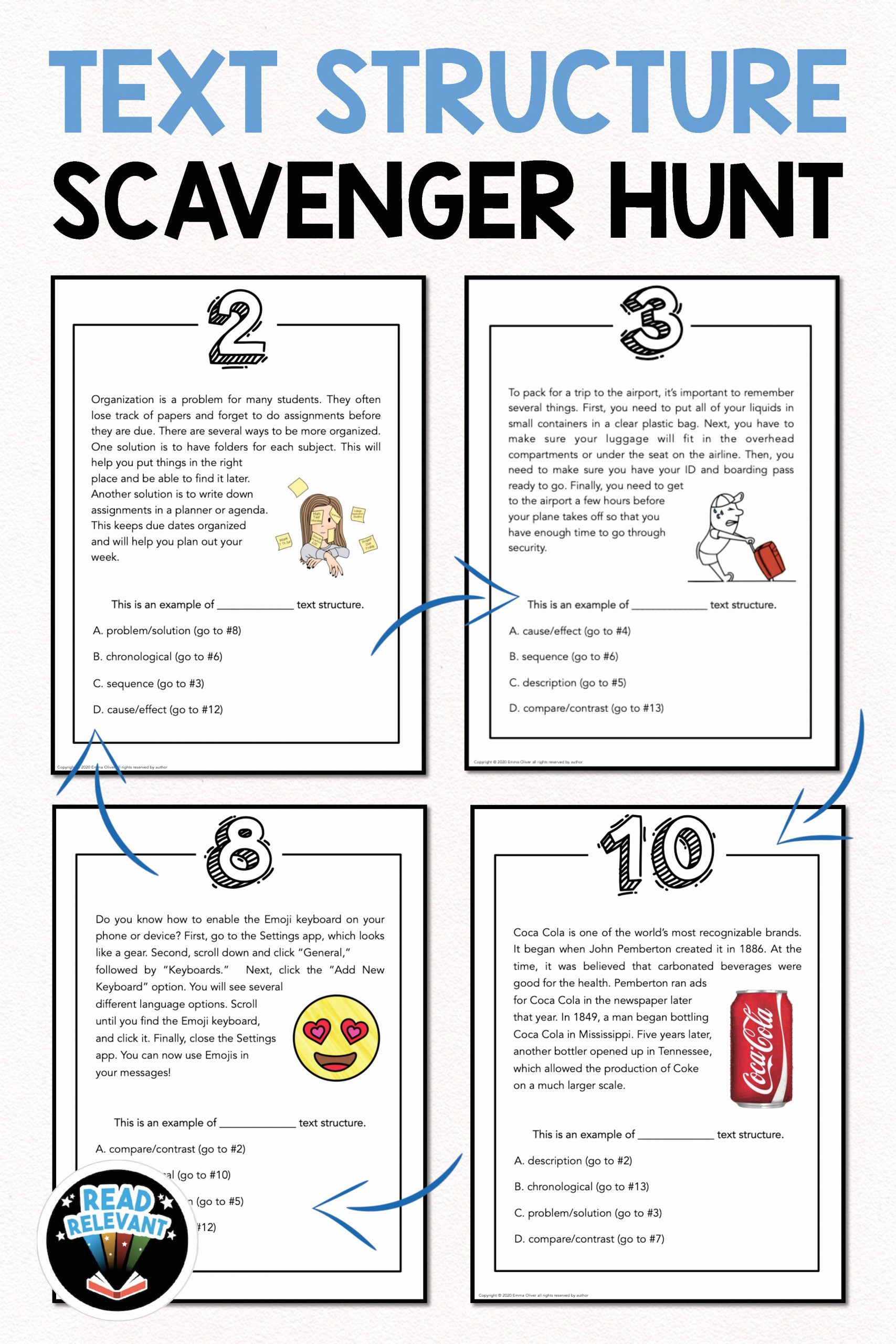 Informational Text Worksheets Middle School Luxury Text Structure Scavenger Hunt Activity