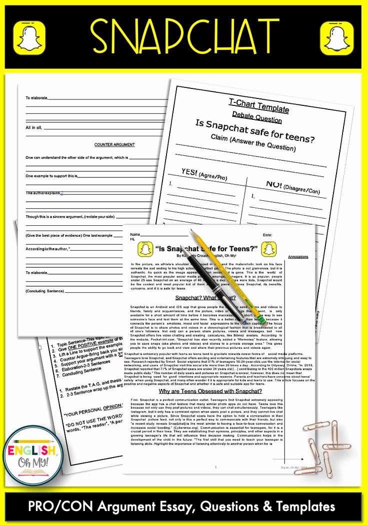 Informational Text Worksheets Middle School New Snapchat Reading Prehension Argument Essay