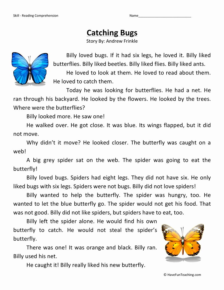 Insect Worksheets for First Grade Beautiful Catching Bugs First Grade Reading Prehension Worksheet