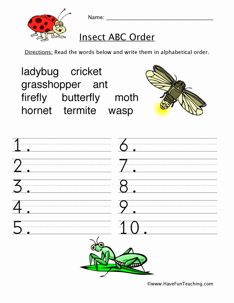 Insect Worksheets for First Grade Elegant Alphabetical order Worksheet Insects