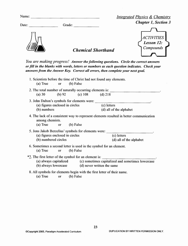 Integrated Physics and Chemistry Worksheets Luxury Sale Integrated Physics and Chemistry Chapter 1 Activities
