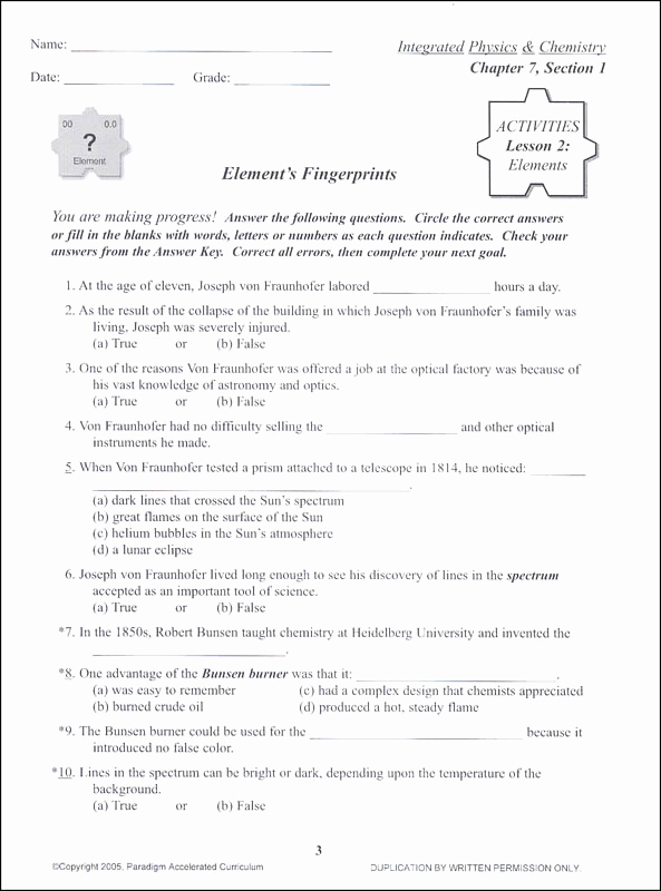Integrated Physics and Chemistry Worksheets New Integrated Physics and Chemistry Chapter 7 Activities