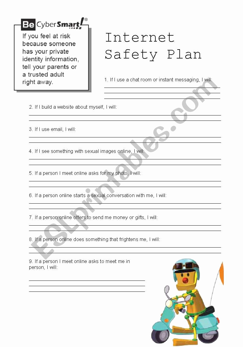 Internet Safety Worksheets Printable Beautiful Internet Safety 2 4 Esl Worksheet by Doroteia F