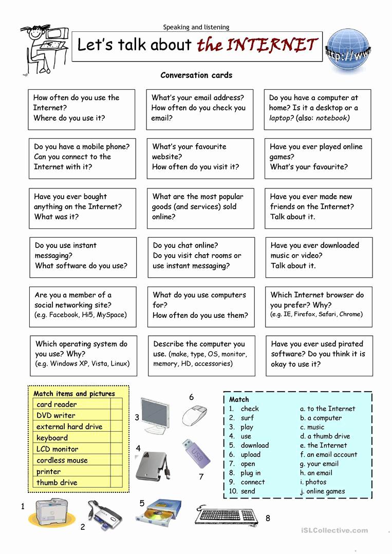 Internet Safety Worksheets Printable Lovely Let´s Talk About the Internet Worksheet Free Esl