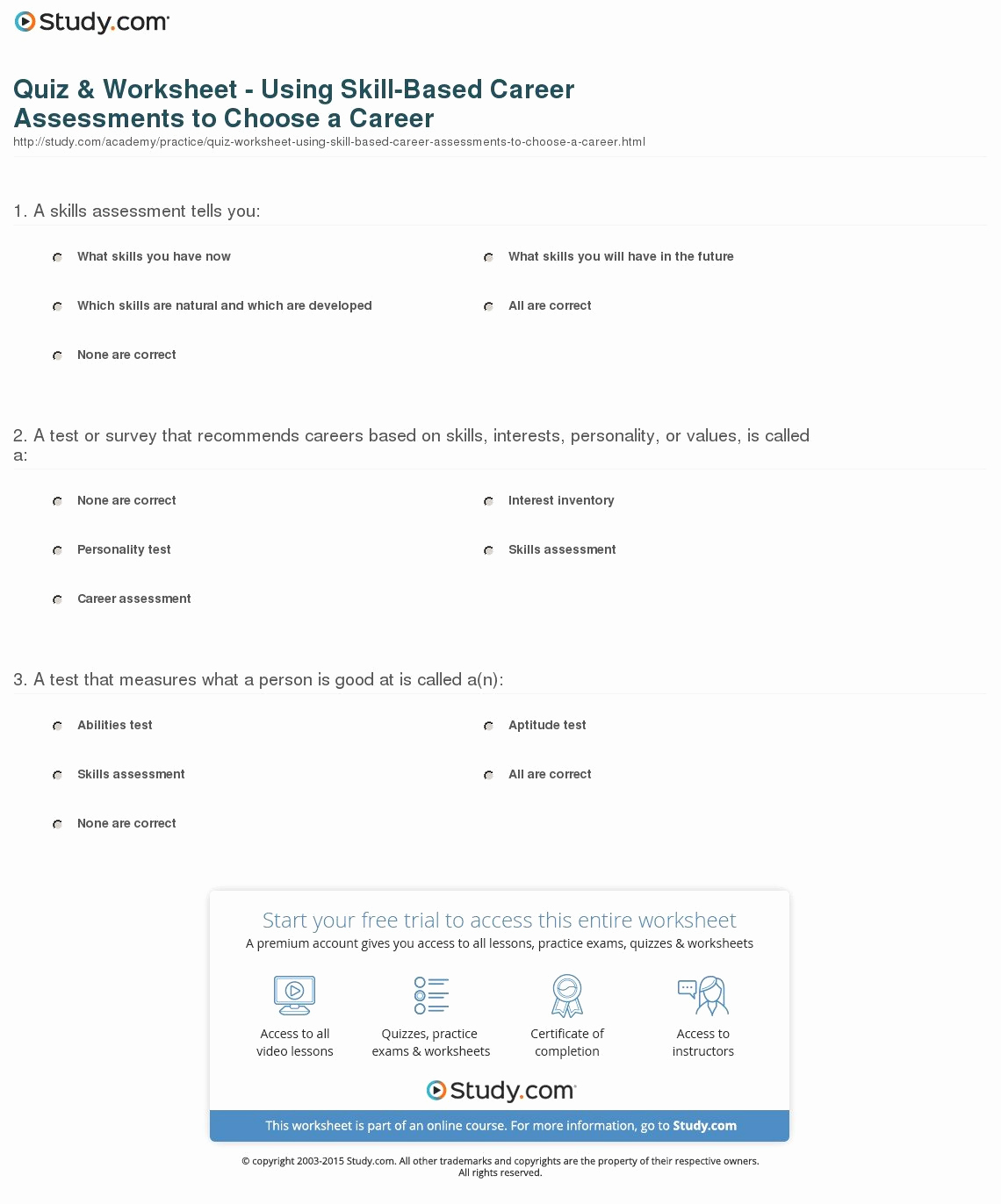 Job Skills Worksheets Fresh Job Skills assessment Worksheet — Excelguider