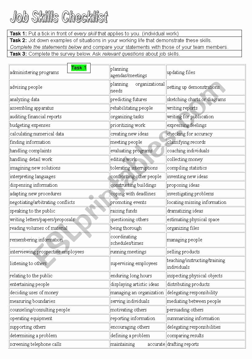 Job Skills Worksheets Luxury Job Skills Checklist Esl Worksheet by Gscass