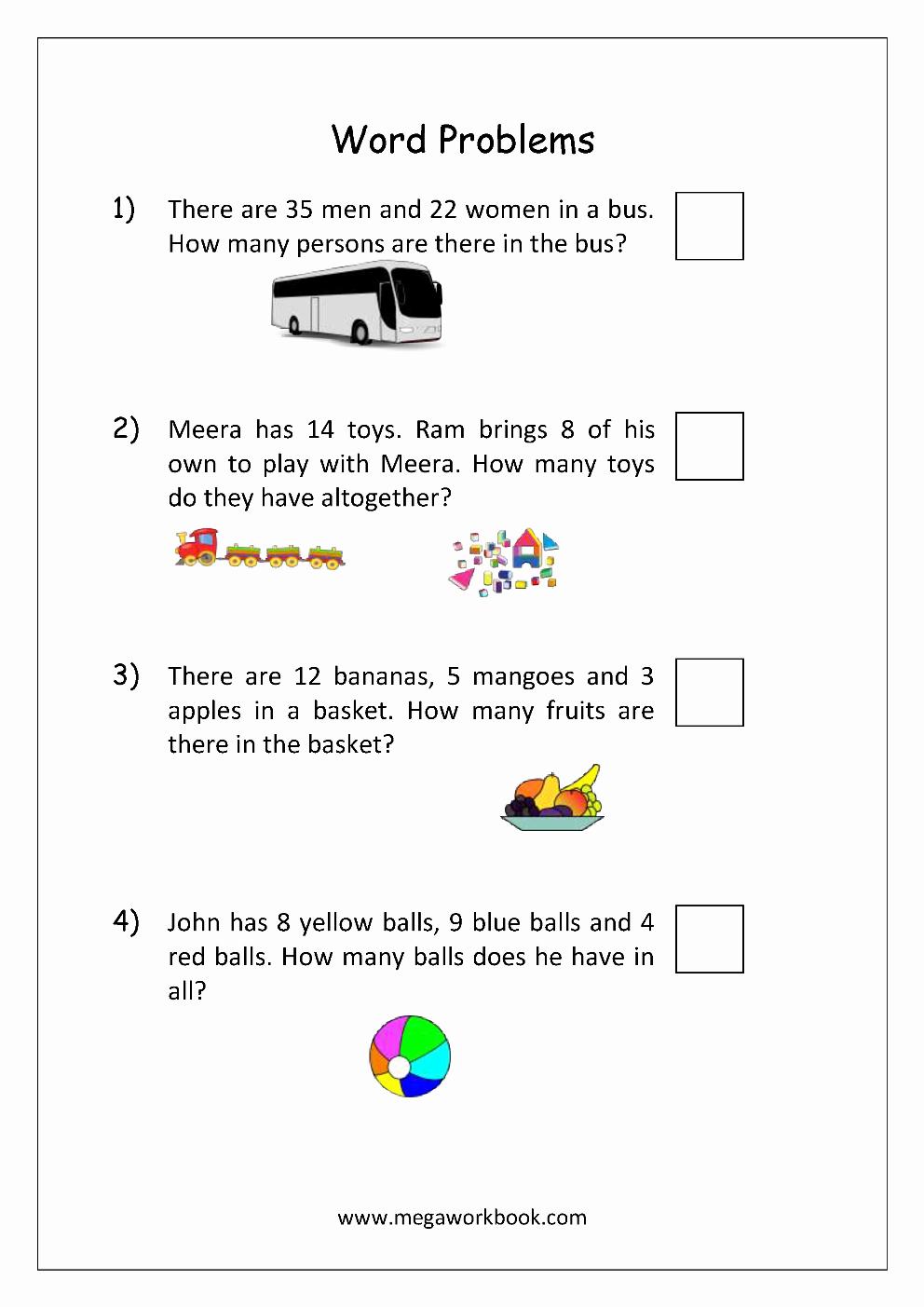 Kindergarten Addition Word Problems Worksheets Elegant Addition and Subtraction Word Problems Worksheets for
