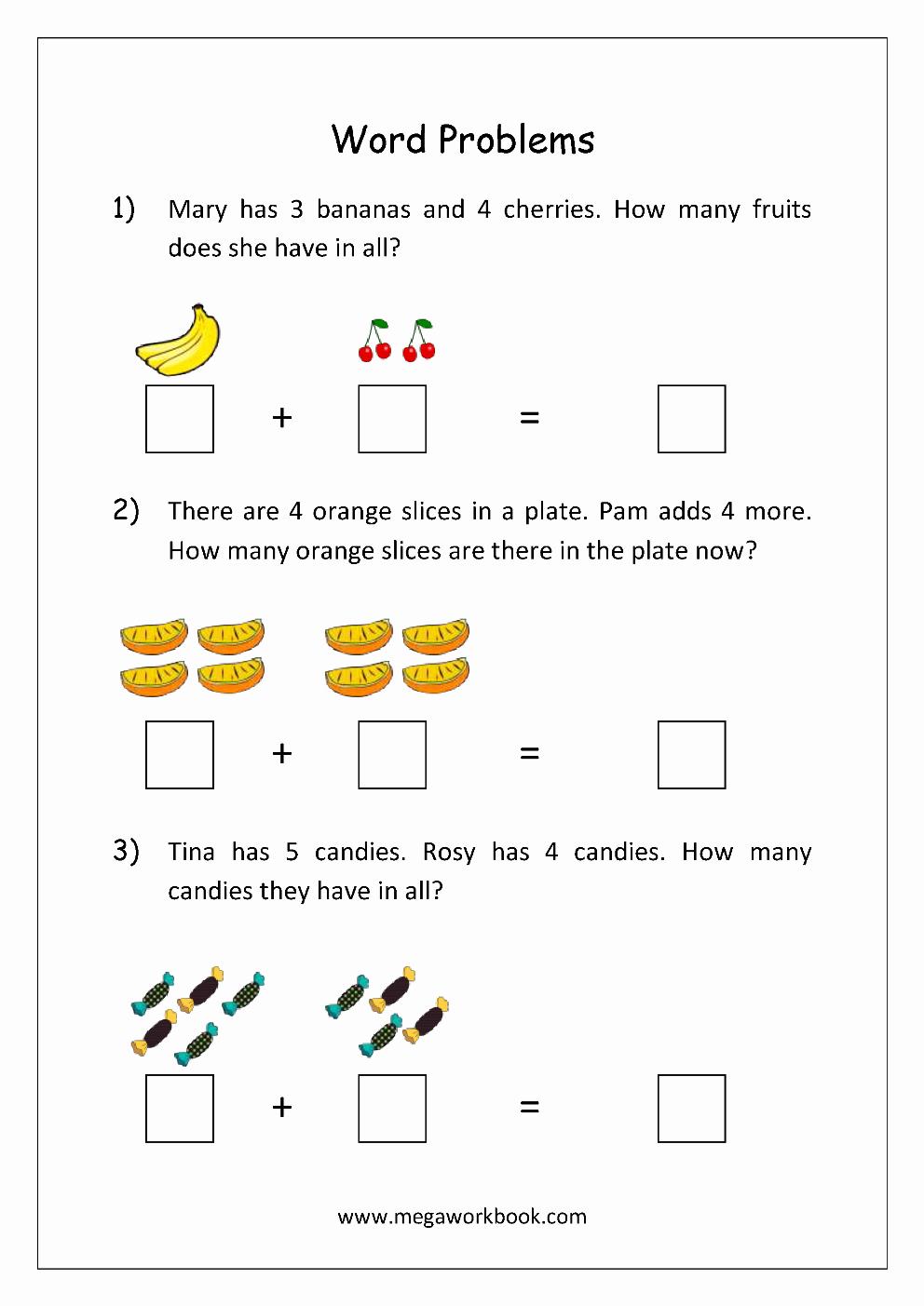 Kindergarten Addition Word Problems Worksheets Fresh Addition and Subtraction Word Problems Worksheets for