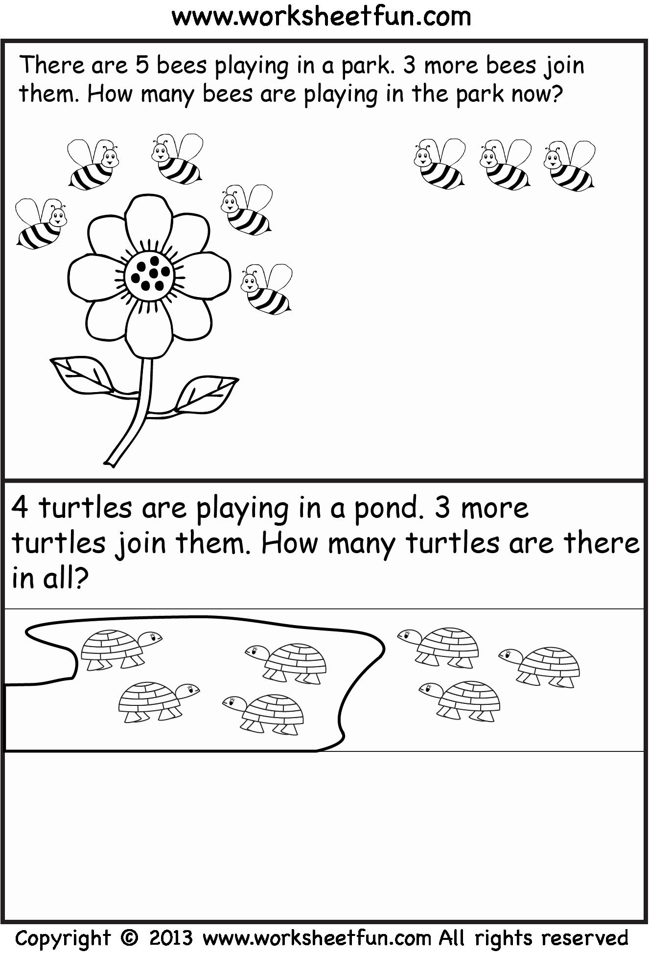 Kindergarten Addition Word Problems Worksheets Lovely Addition Word Problems – Three Worksheets Free Printable