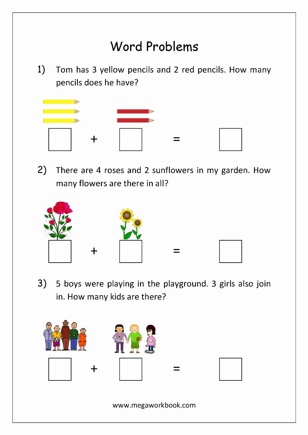 Kindergarten Addition Word Problems Worksheets New Addition and Subtraction Word Problems Worksheets for