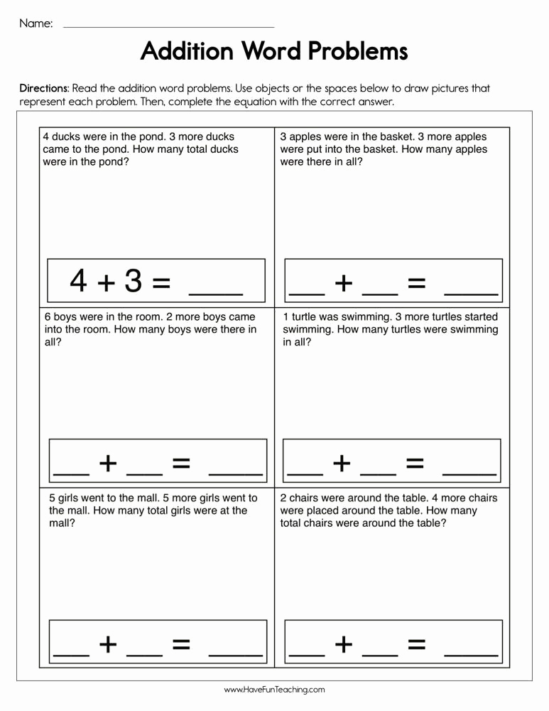 Kindergarten Addition Word Problems Worksheets Unique Addition Single Digit Word Problems Worksheet In 2020