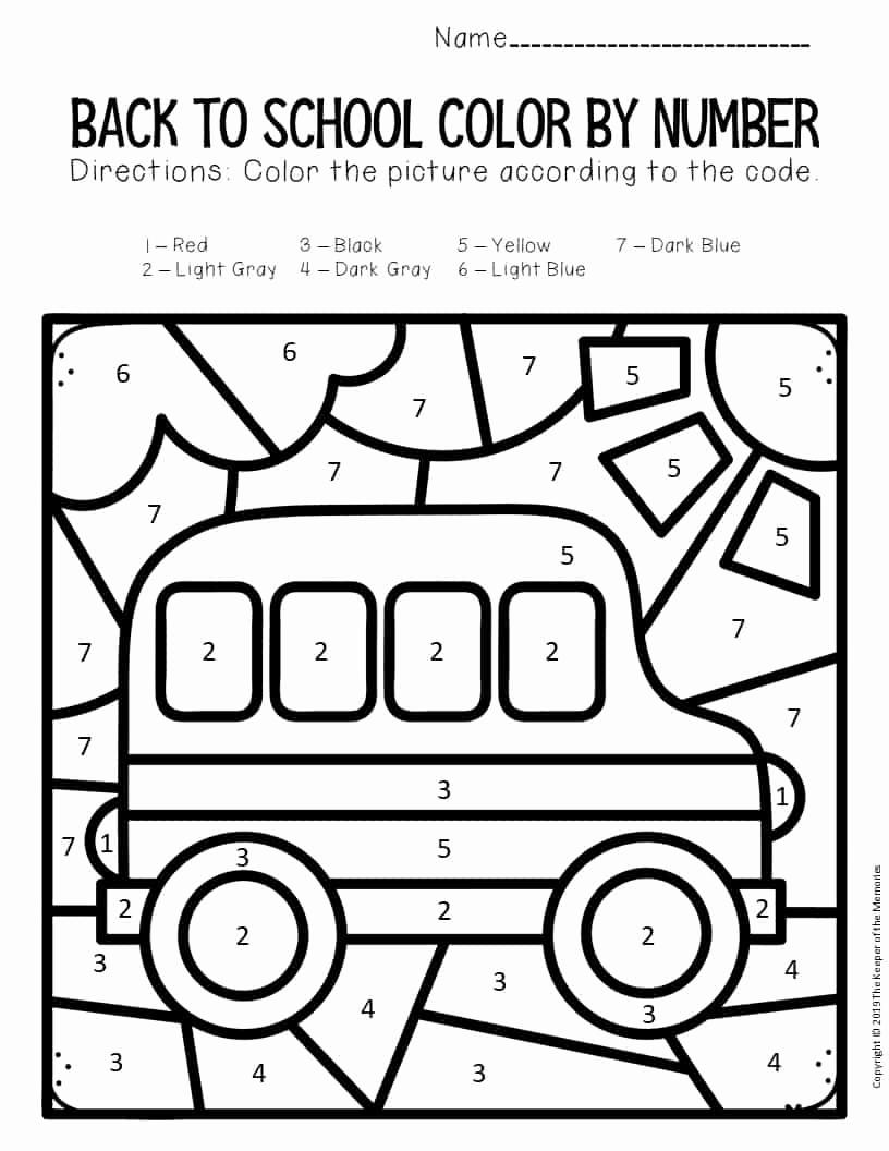 Kindergarten Color by Number Worksheets Beautiful Color by Number Back to School Kindergarten Worksheets