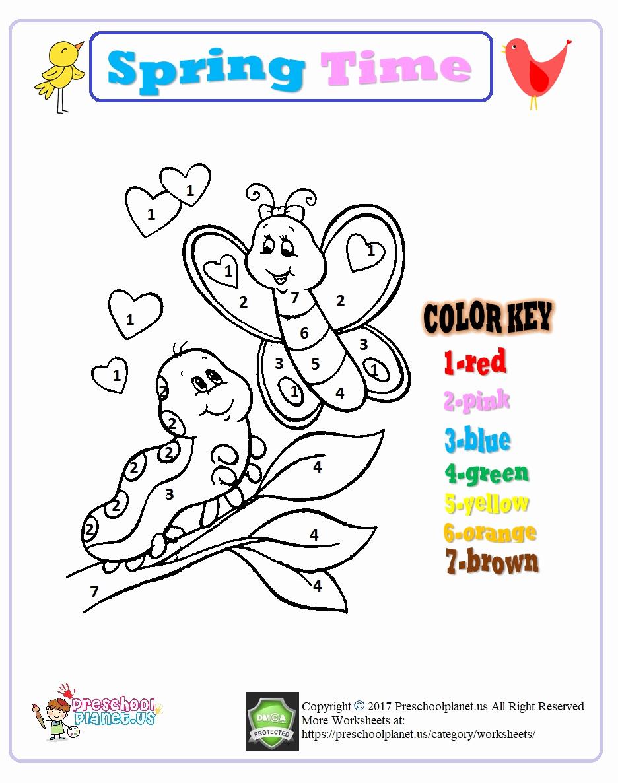 Kindergarten Color by Number Worksheets New Color by Number Spring Worksheet for Kindergarten