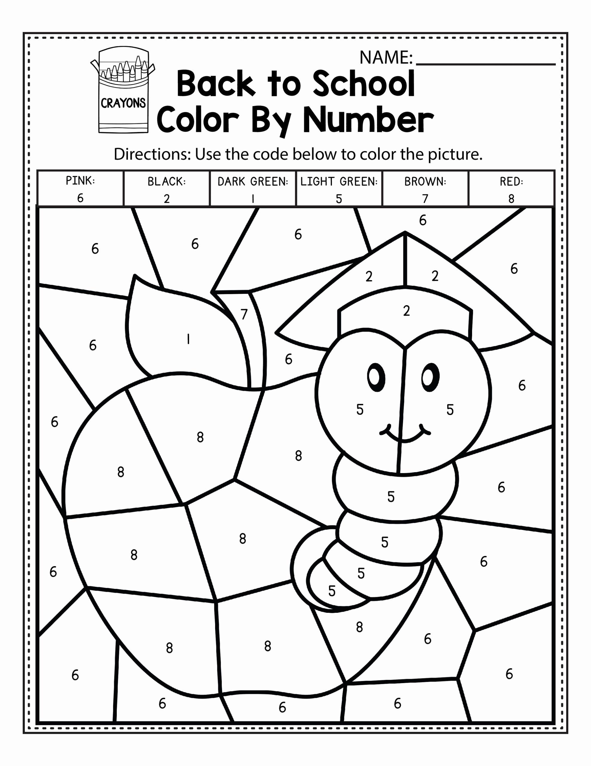 Kindergarten Color by Number Worksheets New Easy Color by Number Worksheets for Kindergarten