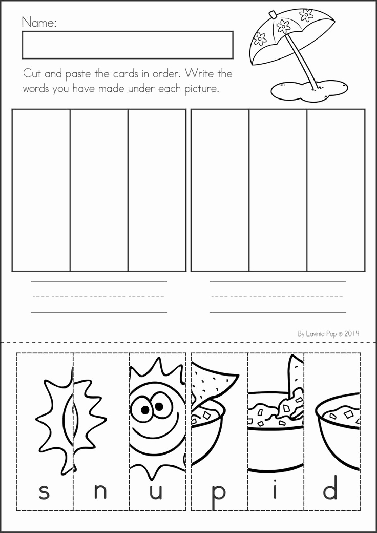 Kindergarten Cut and Paste Worksheets Beautiful 16 Best Of Cut and Paste Cvc Worksheets for