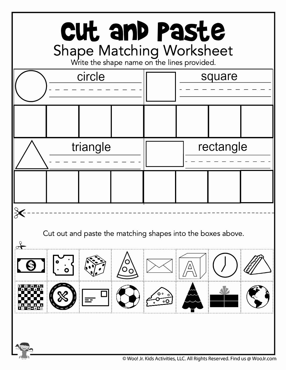 Kindergarten Cut and Paste Worksheets Beautiful Cut and Paste Shape Matching Practice