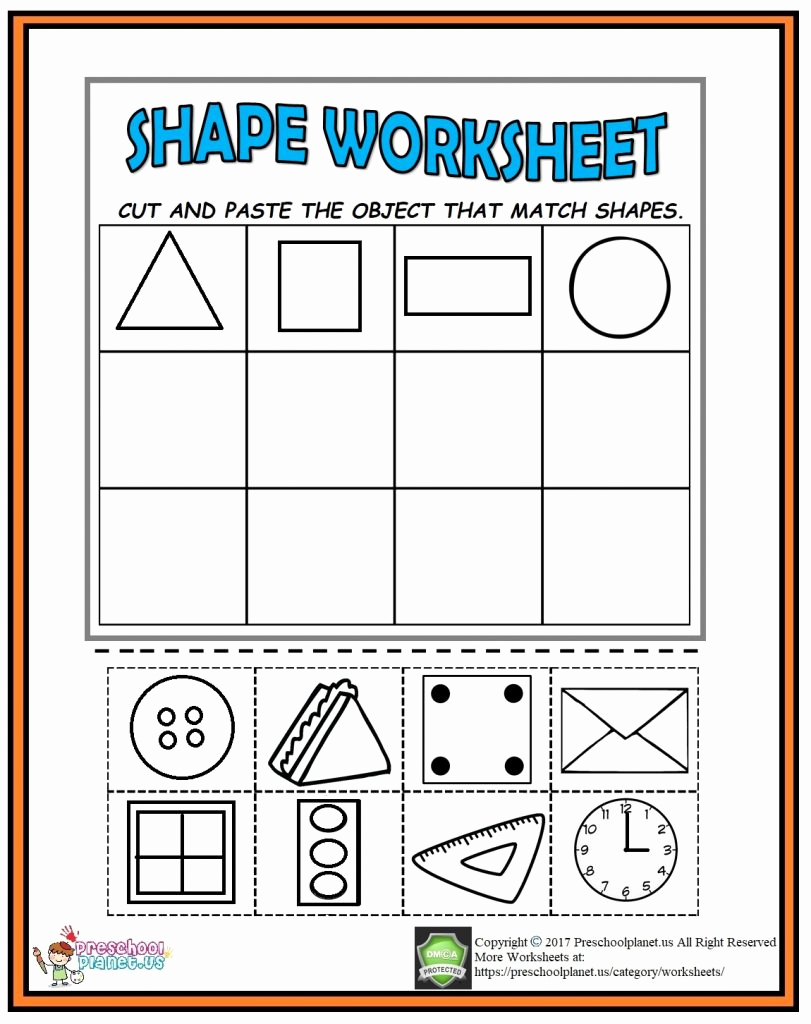 Kindergarten Cut and Paste Worksheets Lovely Cut and Paste Shape Worksheet – Preschoolplanet