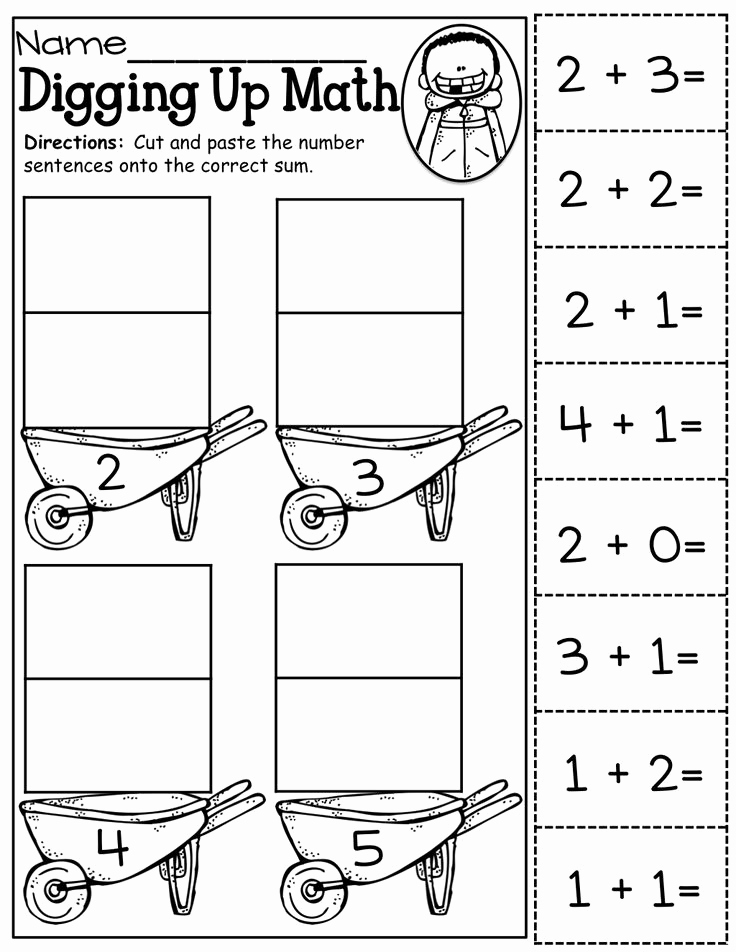 Kindergarten Cut and Paste Worksheets New Cut and Paste Addition Up to 5