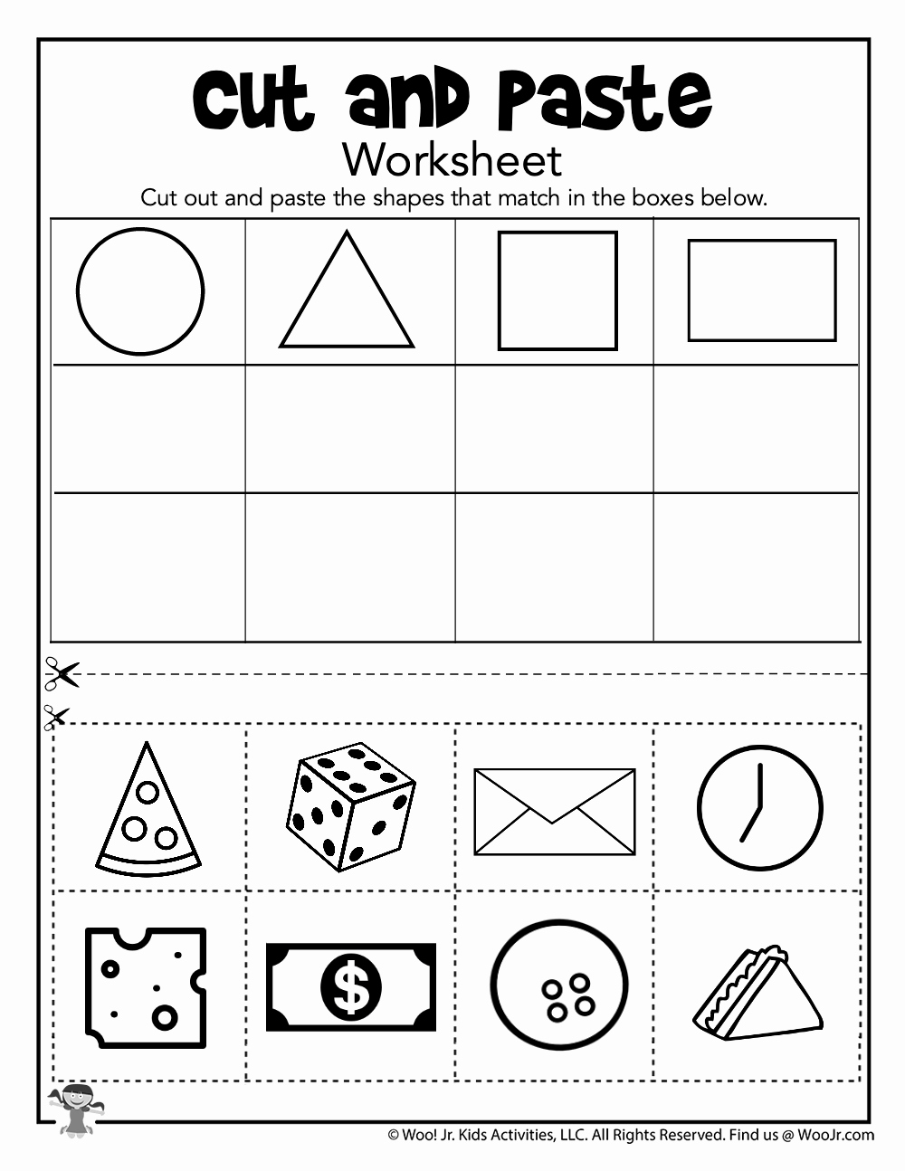Kindergarten Cut and Paste Worksheets Unique Cut and Paste Shape sorting Worksheet