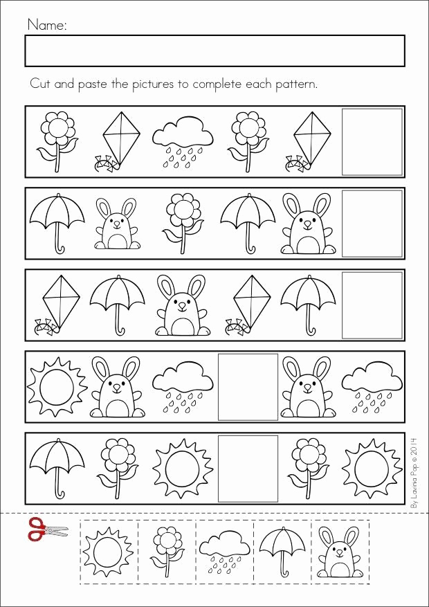 Kindergarten Cut and Paste Worksheets Unique Kindergarten Pattern Cut and Paste Worksheets