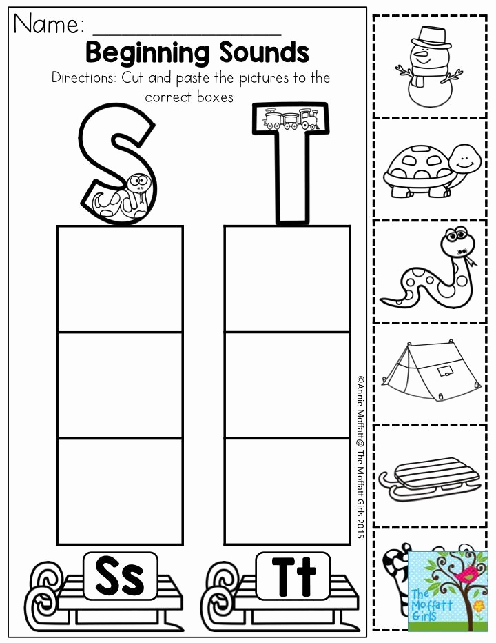 Kindergarten Cut and Paste Worksheets Unique Pin On Beginning sound Worksheets and Activities