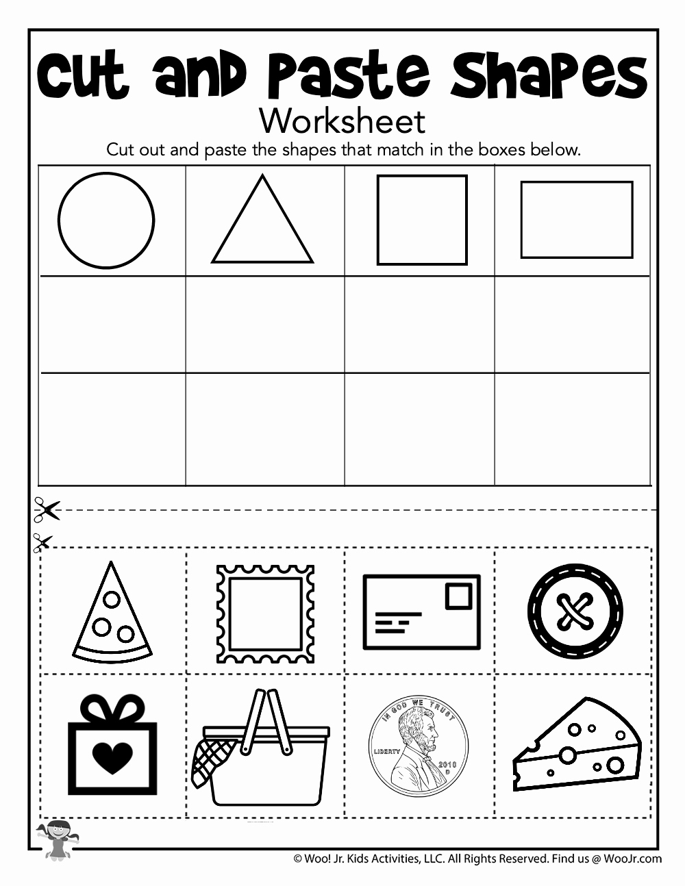 Kindergarten Cut and Paste Worksheets Unique Shape sorting Cut and Paste Printable