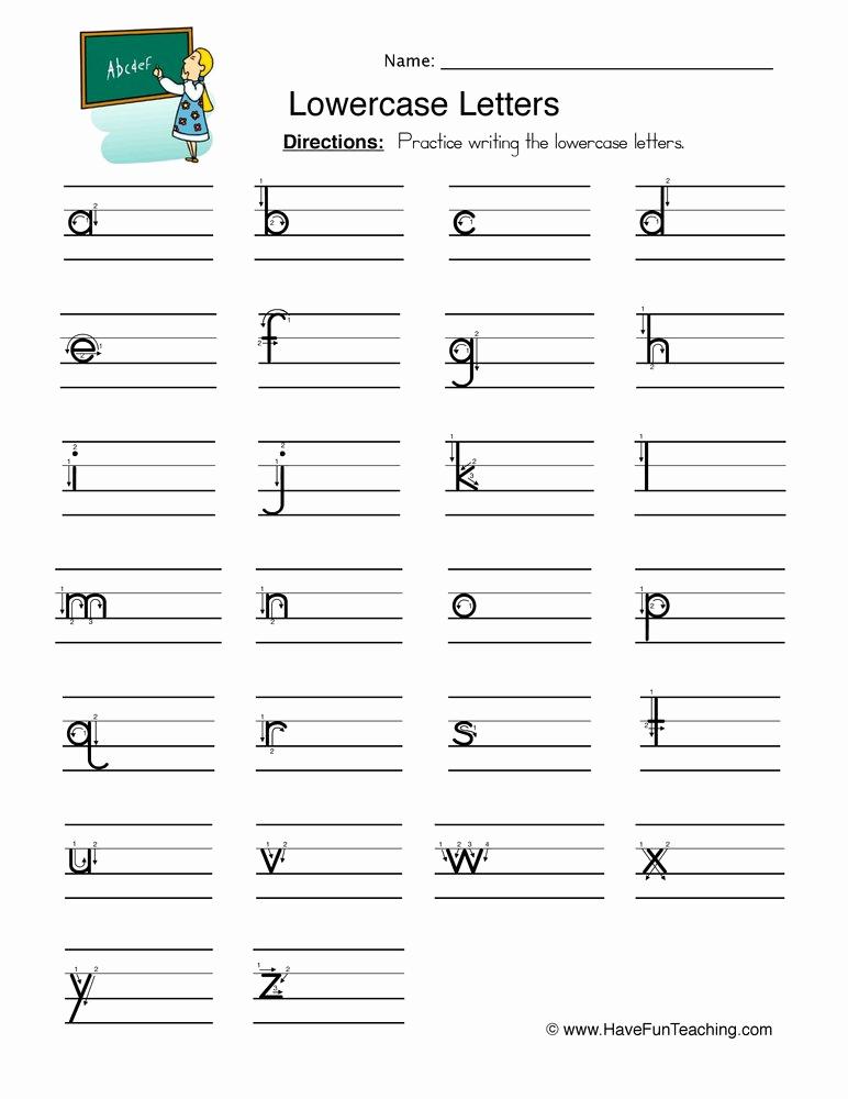 Kindergarten Lowercase Letters Worksheets Lovely Lowercase Letters Writing Worksheet • Have Fun Teaching