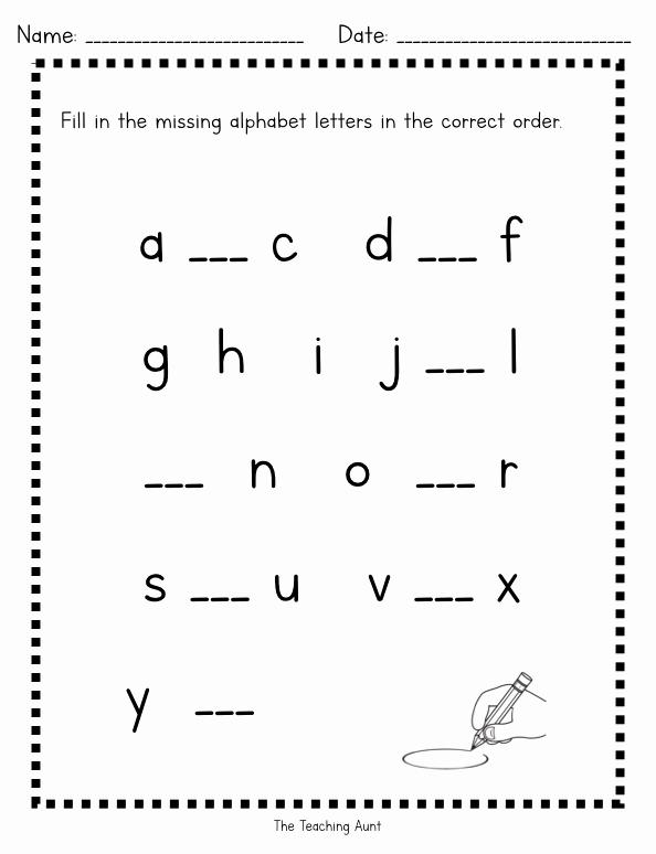 Kindergarten Lowercase Letters Worksheets Lovely Missing Lowercase Letters Worksheets the Teaching Aunt