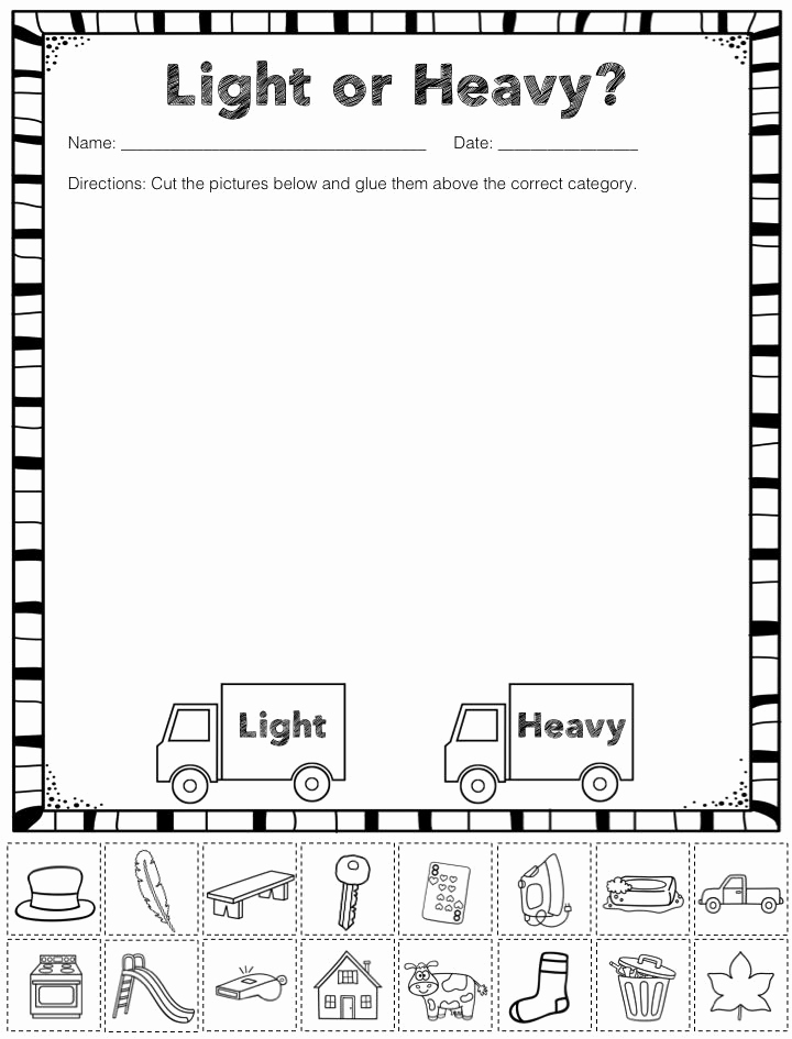 Kindergarten Math sorting Worksheets Elegant Free Heavy and Light sorting Activity