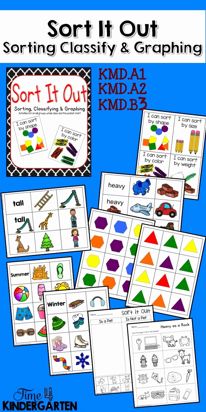 Kindergarten Math sorting Worksheets New sorting Classifying and Graphing by Measurable attributes