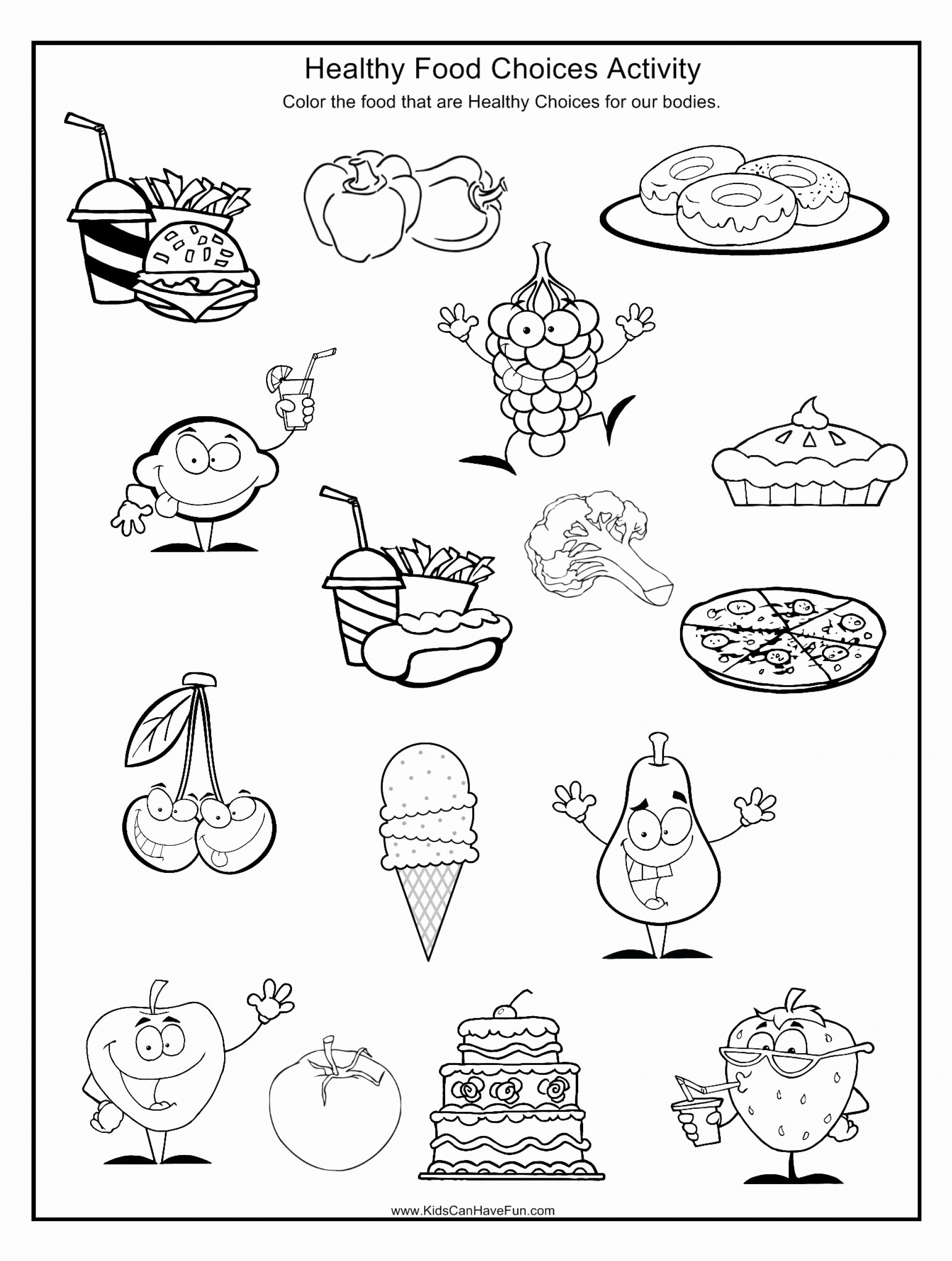 Kindergarten Nutrition Worksheets Unique Healthy Food Choices Worksheet Scanhavefun