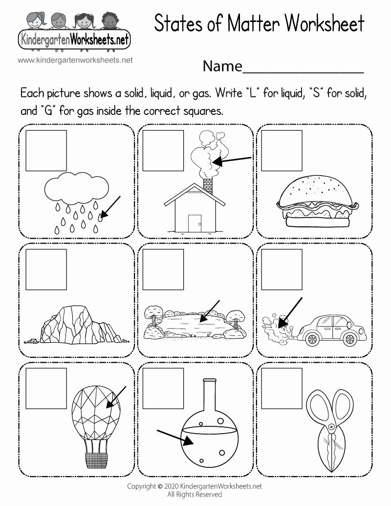 Kindergarten Science Worksheets Best Of States Of Matter Worksheet for Kindergarten Free
