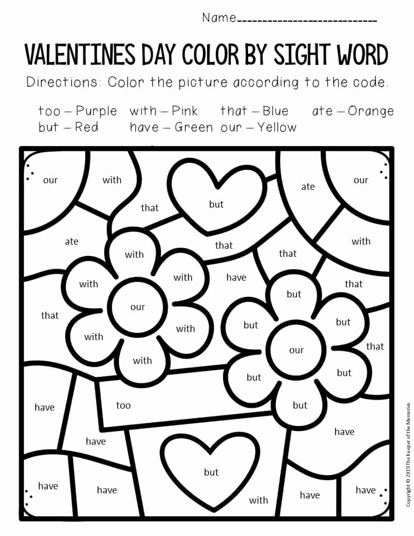 Kindergarten Sight Word Coloring Worksheets Fresh Color by Sight Word Valentine S Day Kindergarten