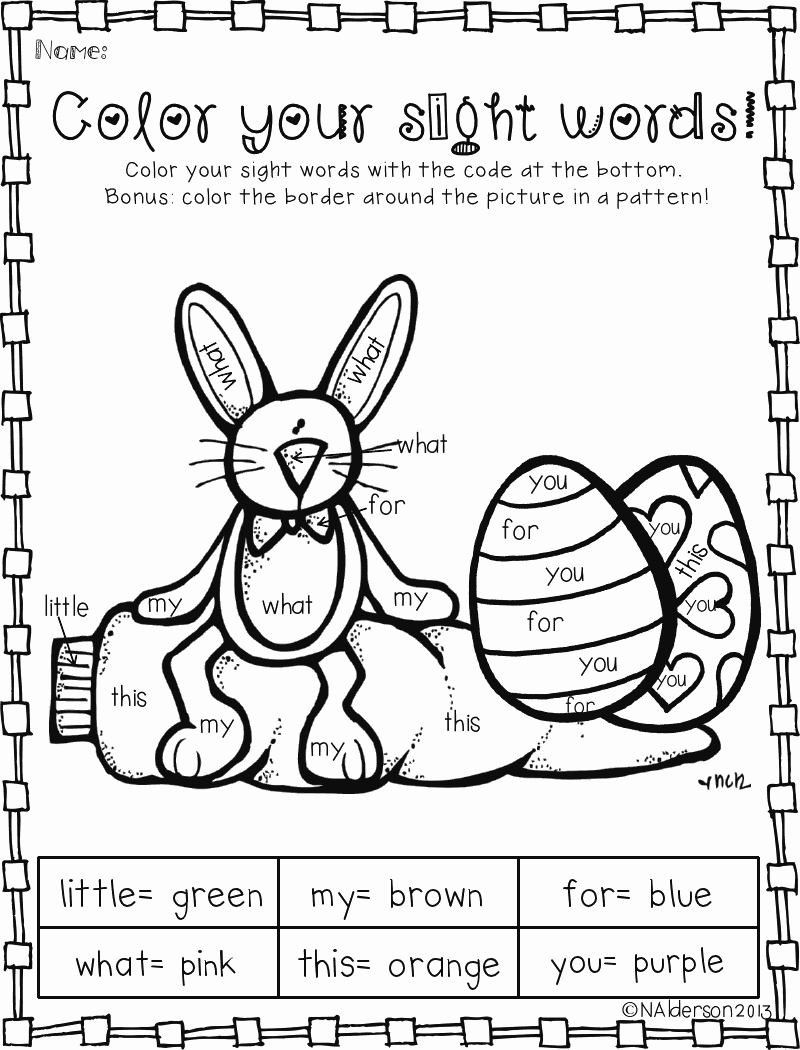 Kindergarten Sight Word Coloring Worksheets Fresh Color by Sight Words