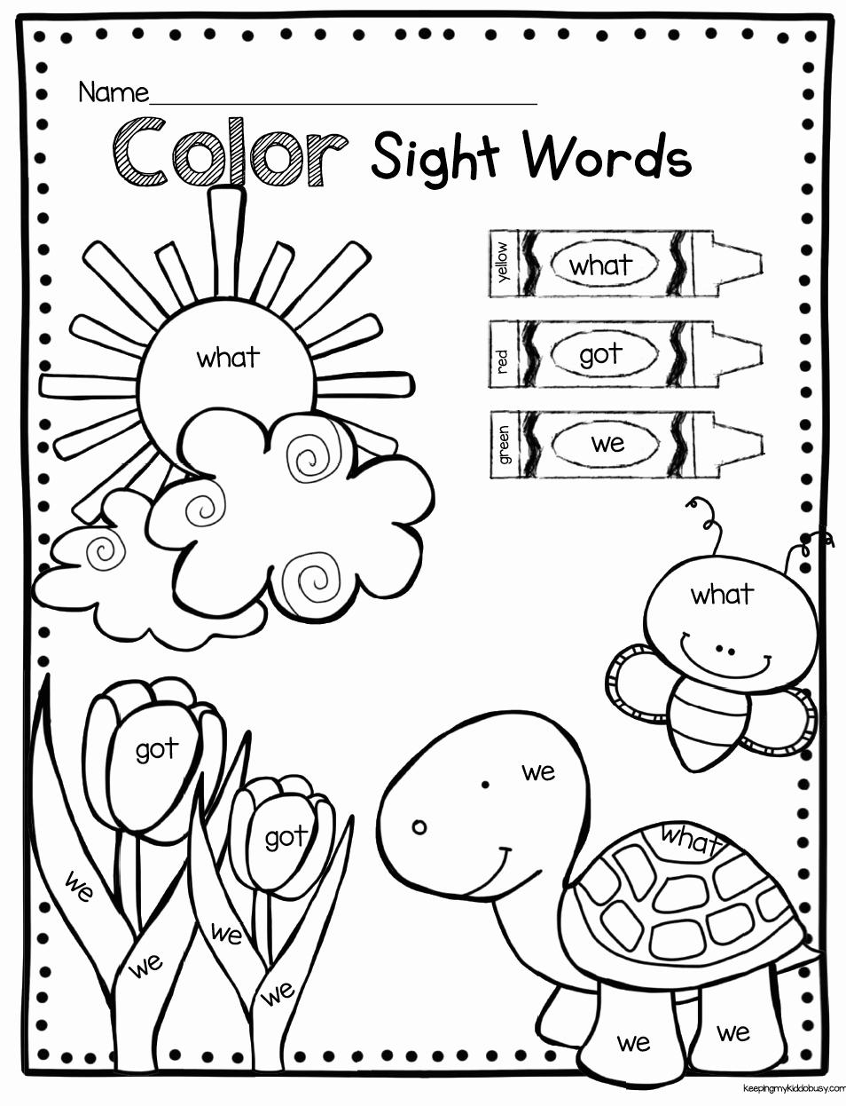 Kindergarten Sight Word Coloring Worksheets Lovely Color by Sight Word Kindergarten Kindergarten