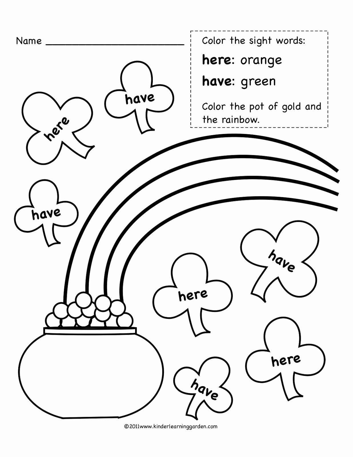 Kindergarten Sight Word Coloring Worksheets New Kinder Learning Garden March Sight Words Freebie
