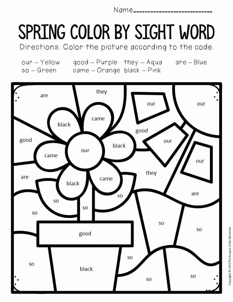 Kindergarten Sight Word Coloring Worksheets Unique Color by Sight Word Spring Kindergarten Worksheets Flowers