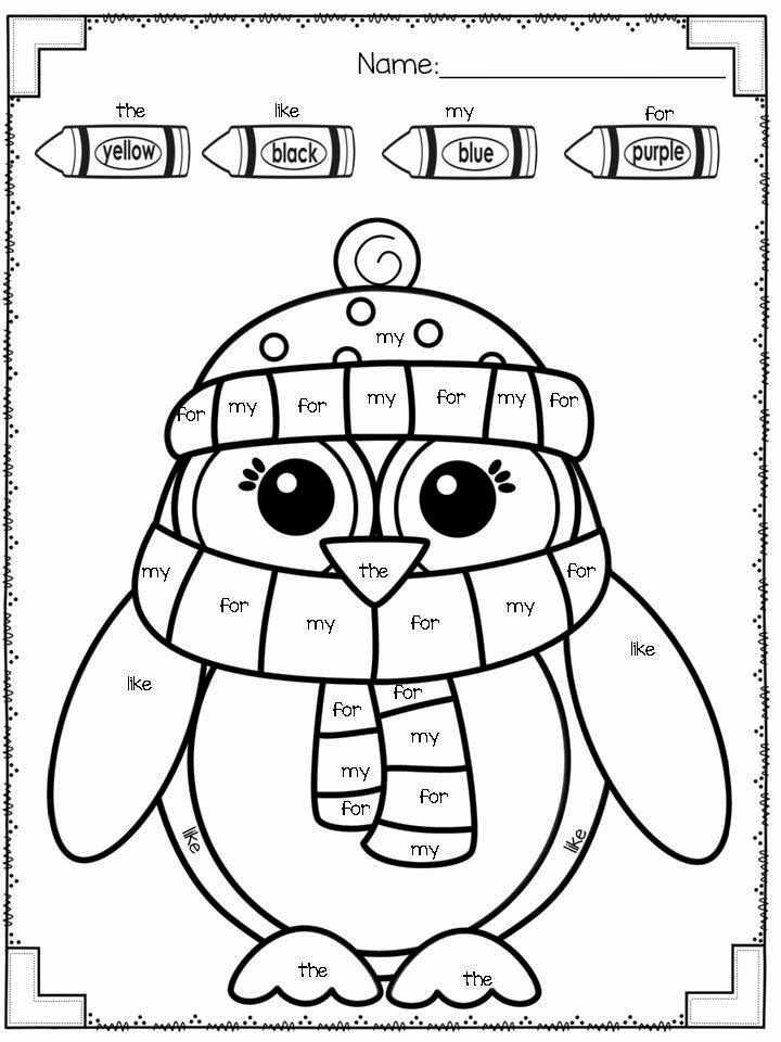 Kindergarten Sight Word Coloring Worksheets Unique Snow Much Fun Freebies Included