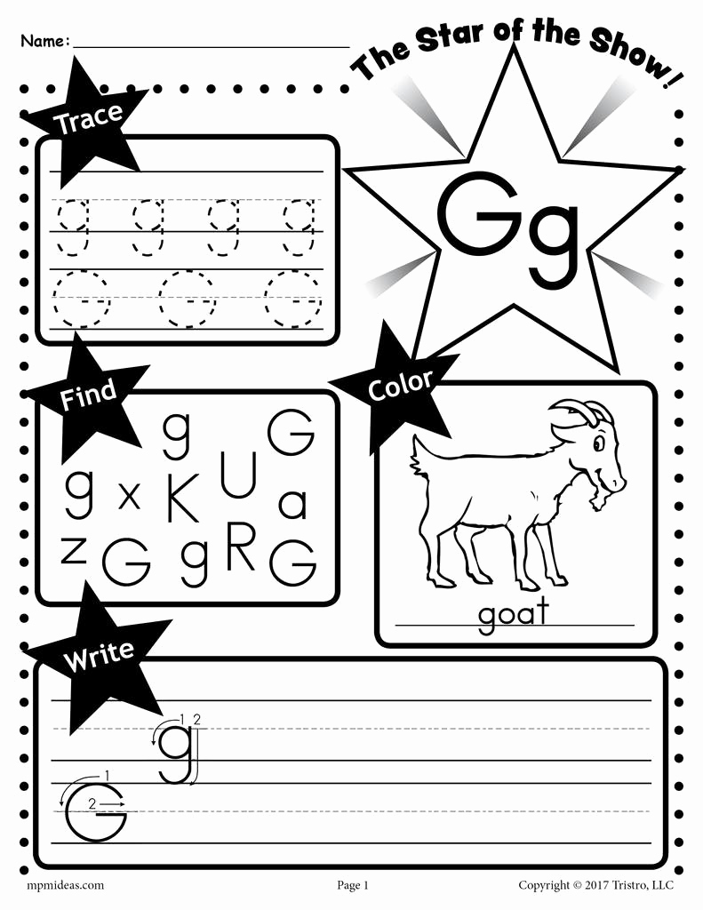 Letter G Worksheets for Kindergarten Beautiful Letter G Worksheet Tracing Coloring Writing & More