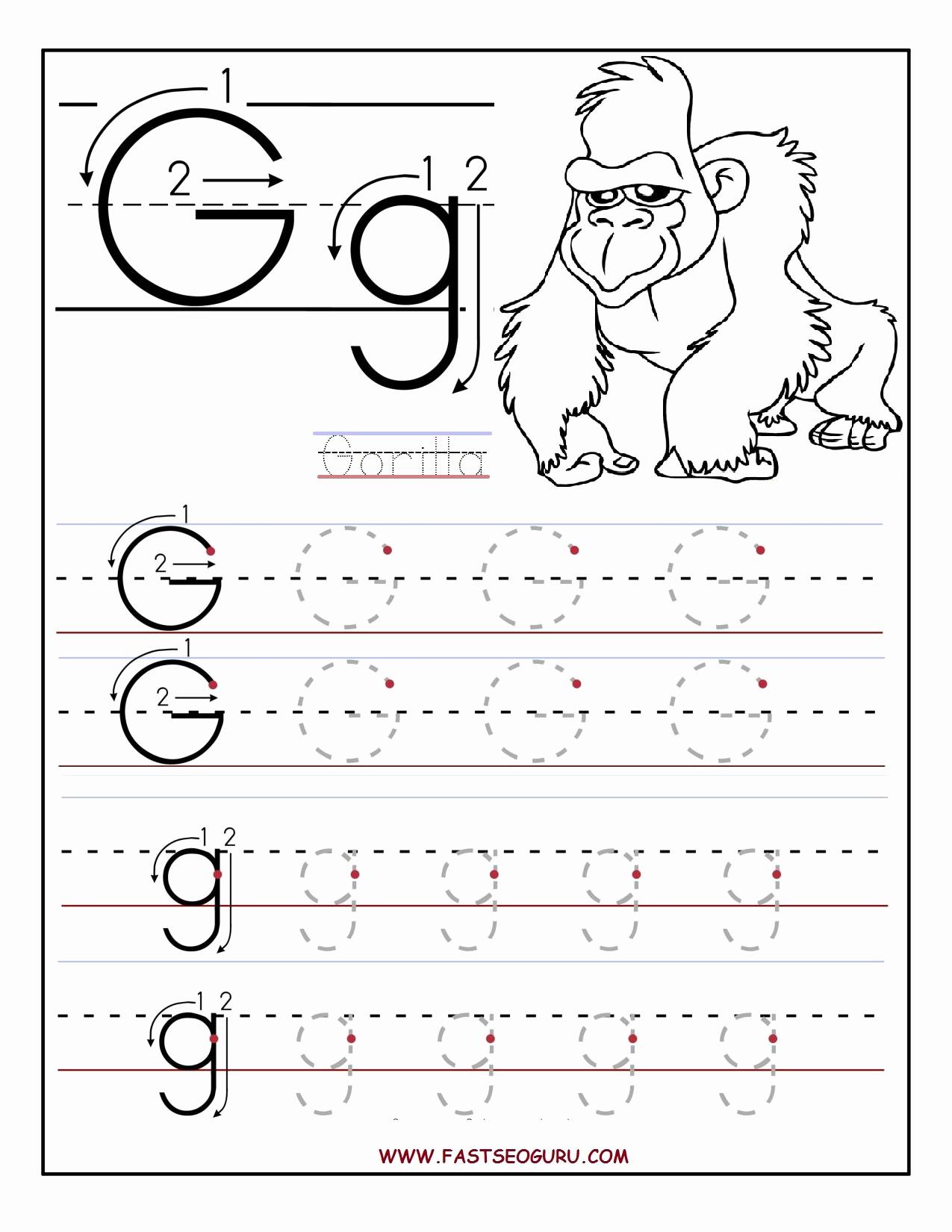 Letter G Worksheets for Kindergarten Luxury Printable Letter G Tracing Worksheets for Preschool