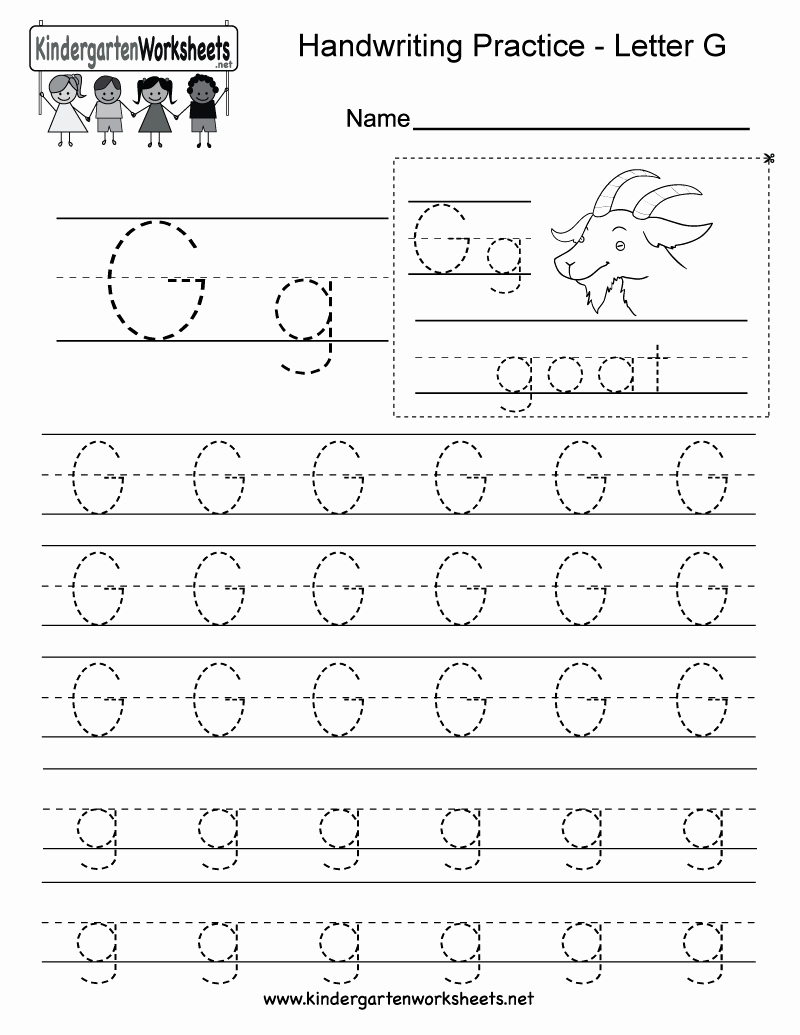 Letter G Worksheets for Kindergarten New Letter G Writing Practice Worksheet Free Kindergarten