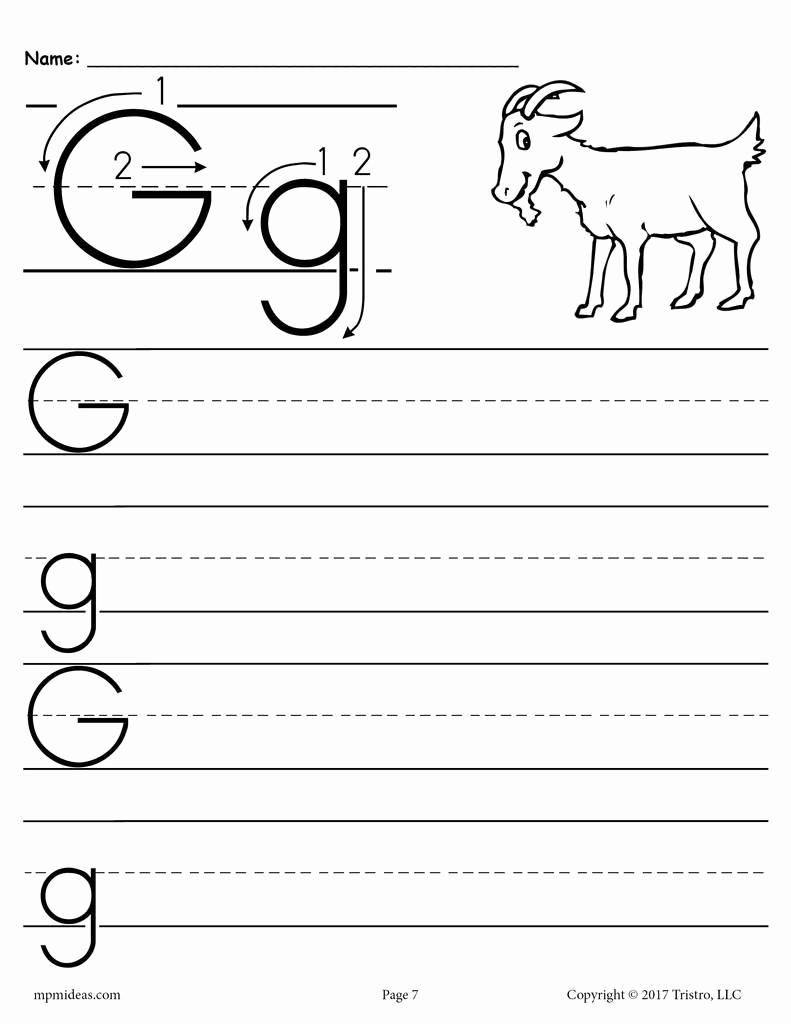 Letter G Worksheets for Kindergarten Unique Free Printable Letter G Handwriting Worksheet – Supplyme