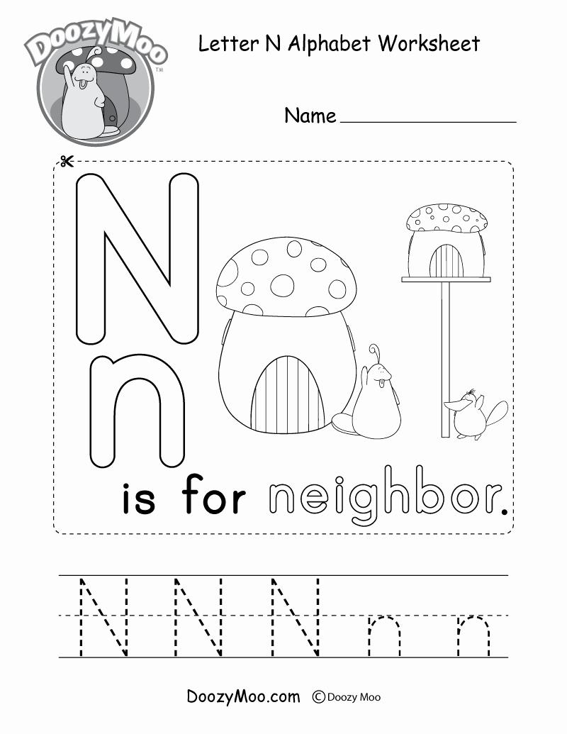 Letter N Worksheets for Kindergarten Awesome Letter N Alphabet Activity Worksheet Doozy Moo