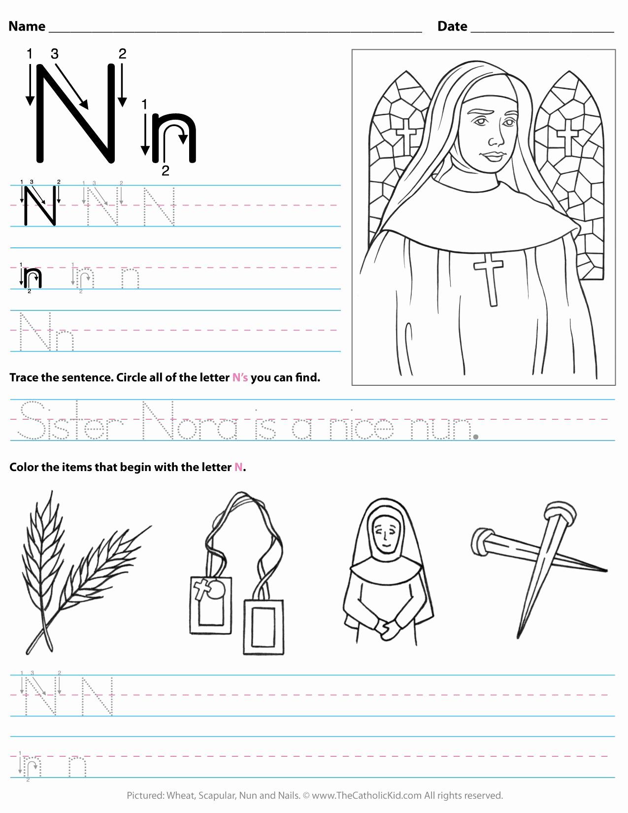 Letter N Worksheets for Kindergarten Beautiful Catholic Alphabet Letter N Worksheet Preschool